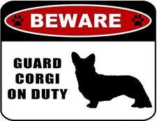 Beware Guard Corgi (silhouette) on Duty Laminated Dog Sign