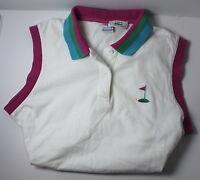 Izod Lacoste VINTAGE Women's Medium White w Pink Trim Sleeveless Polo Golf Shirt