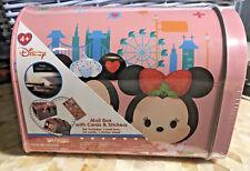 Disney Mickey Minnie Mouse Cupcake Tsum Tsum Tin Mailbox Valentine Card Stickers