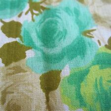 300cm x 92cm Vintage Cotton Blend Fabric 1960s Lime Green Rose Floral Sewing