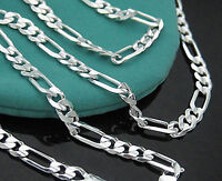 1pc 925 Sterling Silver 2mm Chains Italy Figaro Necklace Men Women 16-30 inch
