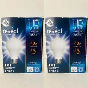 2 Pack Of 4 Each GE Reveal HD+ Light A19 Halohen Light Bulb 40W 29W 325lumens