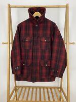 VTG Woolrich Men's 50s Red Black Buffalo Plaid Wool Hunting Coat Jacket 42 USA