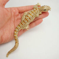 "Huge 6.42"" Lizard Gecko Brooch Pin Topaz Crystal Rhinestone Animal"