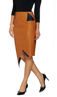 G.I.L.I. Faux Leather Asymmetrical Pointed Skirt, Saddle, Size 8, MSRP $77