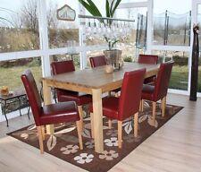 Lot de 6 chaises de séjour Littau, cuir rouge, pieds clairs