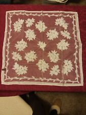 """Square Scarf Sheer See Through White 25"""" Vintage Flowers 60s Style Preowned"""