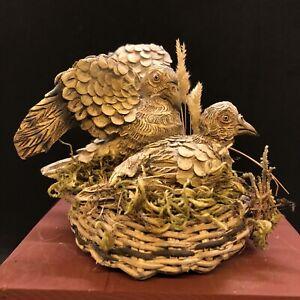 Cesto colombe dono Animale Da Presepe Cortile Scena Campestre 7x8cm