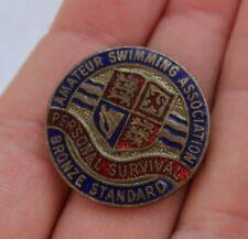 """Vintage Antique 1"""" Amateur Swimming Association Award Pin Bronze Medal Enamel Nr"""