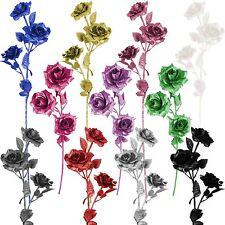 Heavy Glittered 3 Head Rose Spray - Artificial Glitter Glittery Flowers  Fake
