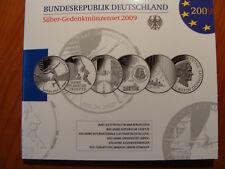 10 EURO - Gedenkmünzenset BRD 2009, 6 x Silber, Spiegelglanz, im Originalfolder