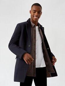 BURTON MENSWEAR LONDON Mens Blue Faux Wool Overcoat Winter Warm Coat Jacket Top