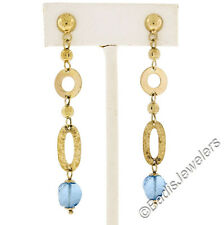 Modern 14K Yellow Gold Custom Cut Blue Topaz Textured Long Drop Dangle Earrings