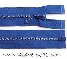 Fermeture éclair zip fantaisie strass séparable 60 cm maille 4 mm bleu mercerie