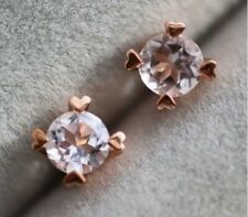 14K Rose Gold Over 2.00 Ct Round Cut Morganite Solitaire 4 Prong Stud Earrings