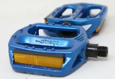 "NOS OFMEGA BMX MTB PEDALS BLUE ANODIZED 9/16""x20 90s VINTAGE BIKE BICYCLE RACING"