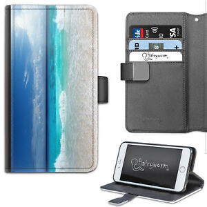 Blue Sky Sea Phone Case, PU Leather Wallet Flip Case, Cover For Samsung, Apple