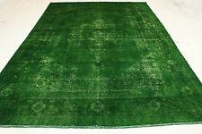 Orient Tapis Vintage moderne vert 350x240 Used Look noué à la main sélectionnez