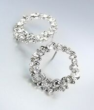 SHIMMERY Designer Style Clear CZ Crystals Silver Cluster Post Earrings