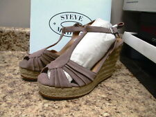 Steve Madden Mammbow High Heel Wedge Sandal 10 M Blush Suede New with Box