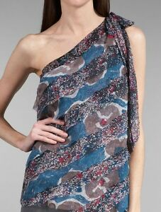 NWT WALTER BAKER Blue Multi One Shoulder Silk Top size 10 retail $218