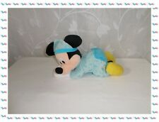 R - Doudou Peluche Mickey Bleu Jaune Luminescent Lune Etoiles  Disney Nicotoy