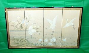 Hand Painted 4-Panel Silk Screen Japanese Byobu Folding Room Divider crane