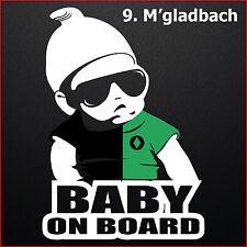 Baby on Board M'Gladbach Auto Aufkleber in Klubfarben Kind 20x14cm
