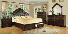 Old World Cherry Brown Bedroom Furniture - 5pcs King Leatherette Bed Set ICA7
