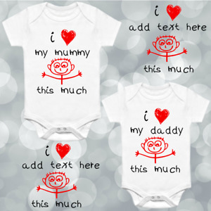 """Personalised Baby Grow Vest """"I Love My... Mummy Daddy This Much"""" Heart Boy Girl"""