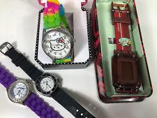 4 Womens Kids Wrist Watch Lot Digital Analog Hello Kitty Quick Silver Sponge Bob