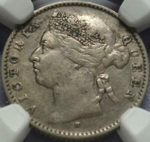 1883-H STRAITS SETTLEMENTS Rare HEATON MINT 10 Cents CERTIFIED & Graded NGC VF35