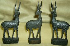 AFRICAN GAZELLES Carved Wood Three Kenya African Art Collectibles