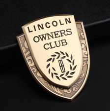 3D Gold Alloy Car Side Hood Trunk Owners Club Nameplate Emblem Decal Fit Lincoln