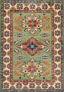 Geometric Kazak Rug, 4'x6', Green/Beige, Hand-Knotted Wool Pile