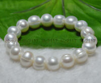 "AAA natural  11-12mm south sea white baroque pearl bracelets 7.5"" Elasticity"
