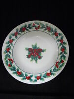 """GIBSON HOUSEWARE CHRISTMAS EARTHENWARE SOUP BOWL-HOLLY&BERRIES-RIMMED-8"""""""