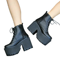 Punk Womens Platform Chunky High Heels Ankle Boots Lace Up Goth Shoes Pumps NEW