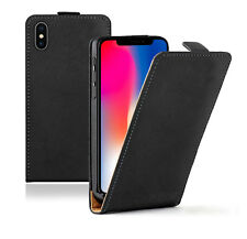 SLIM BLACK Apple iPhone X / iPhone 10 Leather Flip Case Cover For Mobile Phone
