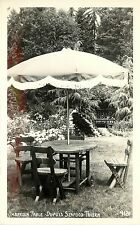c1950 Real Photo PC; Umbrella Table, Dupuis Seafood Tavern, Port Angeles WA