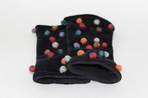 Designer Armstulpen samt schwarz mit farbigen Mohair Perlen