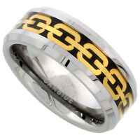 Tungsten Ring Men Women Wedding Band Gold Chain Link Inlay Beveled Edge 8mm
