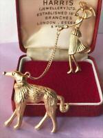 Vintage Style Art Deco Revival Lady Walking Afghan Dog Duet Pin Jewellery BROOCH