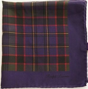$145 RALPH LAUREN PURPLE LABEL 100% Silk Pocket Square Pochette Handkerchief