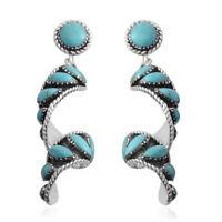 Southwest Jewelry Turquoise 925 Sterling Silver Swirl Dangle Drop Earrings Gift