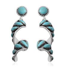 Southwest Jewelry Turquesa 925 Sterling Silver Brincos Pendurados de Gota Redemoinho Presente