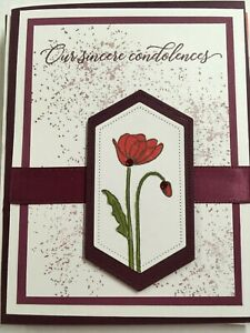 Sympathy card Poppy Sincere condolences- handmade using Stampin Up products