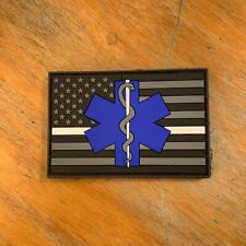 Thin White Line Star of Life EMT American Flag PVC Patch