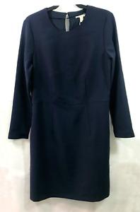 Esprit Navy Blue Long Sleeve Knee Length Lined Dress - Size 12 UK
