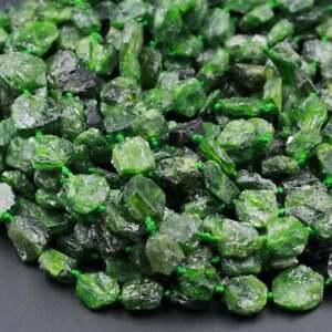 "Natural Green Chrome Diopside Rough Raw Freeform Organic Beads 16"" Strand"